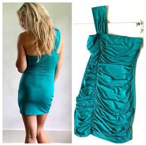 Teal Arden B One Shoulder Ruched Side Dress M